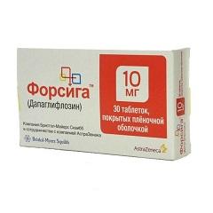 Таблетки, покрытые пленочной оболочкой, Форсига