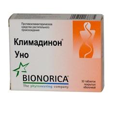 Таблетки, покрытые пленочной оболочкой, Климадинон Уно