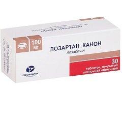 Таблетки, покрытые пленочной оболочкой, Лозартан Канон