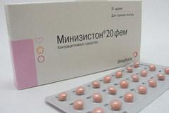 Таблетки, покрытые оболочкой, Минизистон 20 фем