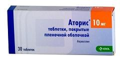 Таблетки, покрытые пленочной оболочкой, Аторис 10 мг