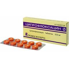 Таблетки, покрытые оболочкой, Ципрофлоксацин