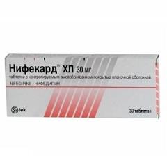 Таблетки, покрытые оболочкой, с контролируемым высвобождением Нифекард ХЛ