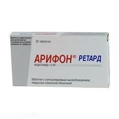 Таблетки с контролируемым высвобождением, покрытые пленочной оболочкой, Арифон ретард