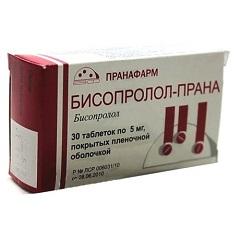 Таблетки, покрытые пленочной оболочкой, Бисопролол-Прана