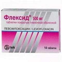 Таблетки, покрытые пленочной оболочкой, Флексид 500 мг