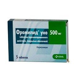 Таблетки пролонгированного действия, покрытые оболочкой, Фромилид уно