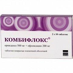 Таблетки, покрытые пленочной оболочкой, Комбифлокс