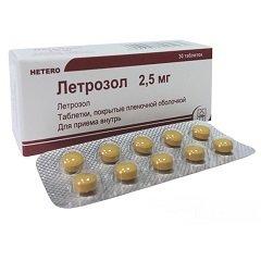 Таблетки, покрытые пленочной оболочкой, Летрозол