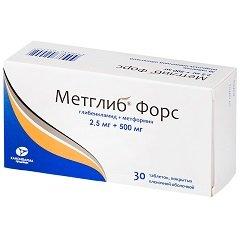 Таблетки, покрытые пленочной оболочкой, Метглиб Форс
