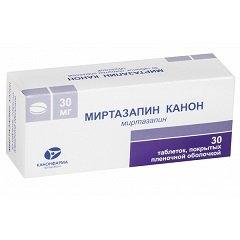 Таблетки, покрытые пленочной оболочкой, Миртазапин Канон