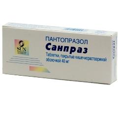 Таблетки, покрытые оболочкой кишечнорастворимой, Санпраз