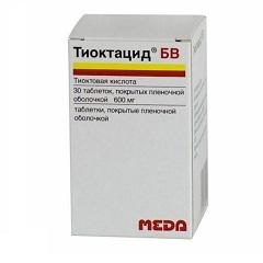 Таблетки, покрытые пленочной оболочкой, Тиоктацид БВ