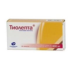 Таблетки, покрытые пленочной оболочкой, Тиолепта