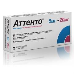 Таблетки, покрытые пленочной оболочкой, Аттенто