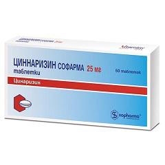 Таблетки Циннаризин Софарма