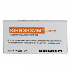 Таблетки, покрытые оболочкой, Юниэнзим с МПС