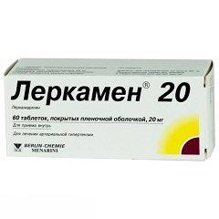 Таблетки, покрытые пленочной оболочкой, Леркамен 20
