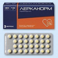 Таблетки, покрытые пленочной оболочкой, Лерканорм