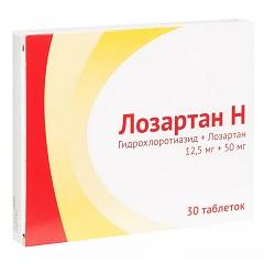 Таблетки, покрытые пленочной оболочкой, Лозартан Н