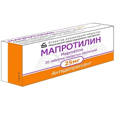 Таблетки, покрытые оболочкой, Мапротилин