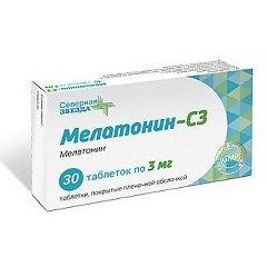 Таблетки, покрытые пленочной оболочкой, Мелатонин-СЗ