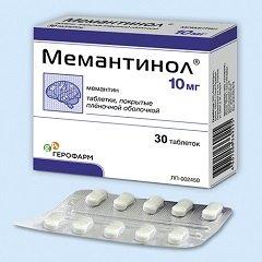 Таблетки, покрытые пленочной оболочкой, Мемантинол