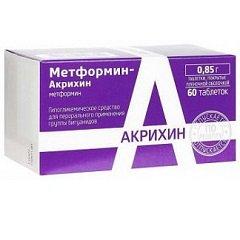 Таблетки, покрытые пленочной оболочкой, Метформин-Акрихин