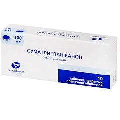 Таблетки, покрытые пленочной оболочкой, Суматриптан Канон