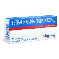 Таблетки, покрытые пленочной оболочкой, Тетрациклина гидрохлорид