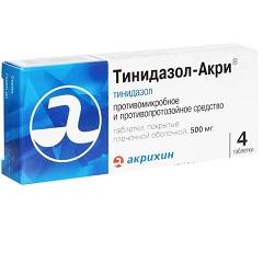 Таблетки, покрытые пленочной оболочкой, Тинидазол-Акри