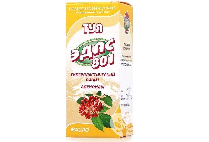 Гомеопатический препарат ЭДАС 801 представляет собой 15%-ное масло туи
